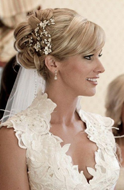 39 Idées Dun Modèle Coiffure De Mariée Avec Frange Robes