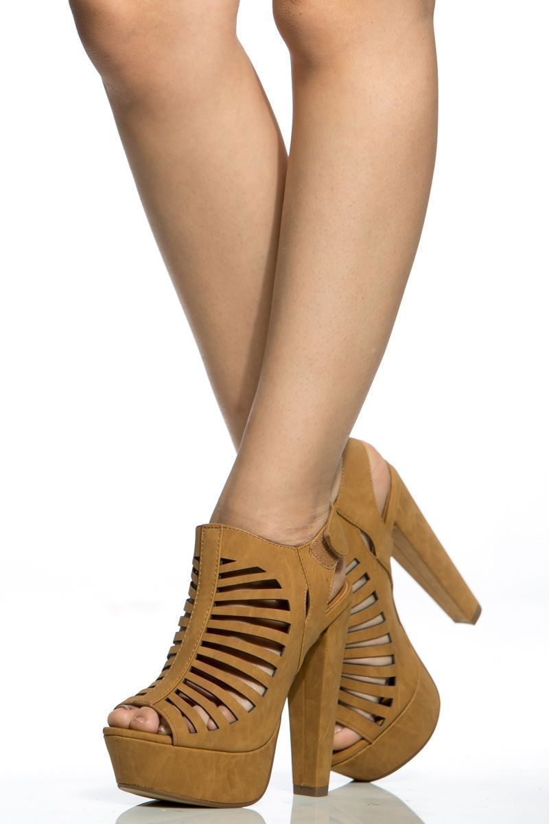 bc3def1aa41b Tan Faux Leather Cut Out Chunky Platform Heels   Cicihot Heel Shoes online  store sales