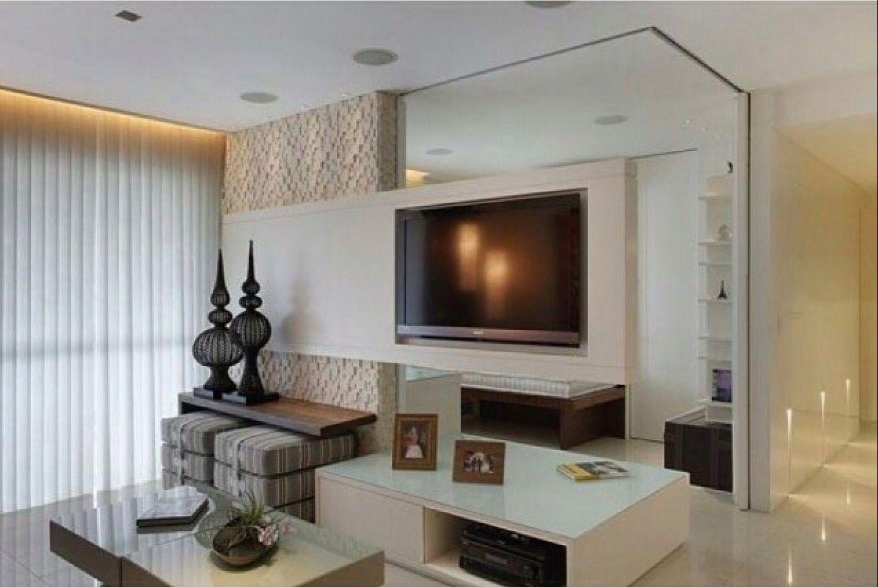 Parede M Vel Entre Tv E Quarto Decorandocomclasse Living  -> Modelo De Sala Pequenas Com Espelho E Aparador
