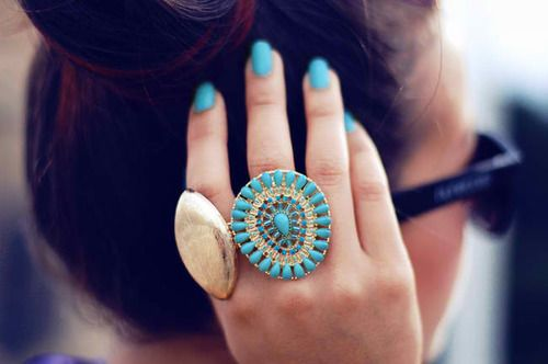 Turquoise & gold.