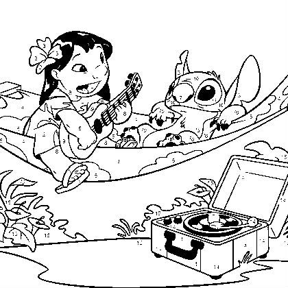 lilo and stitch swing coloring picture for kids - Lilo And Stitch Coloring Pages