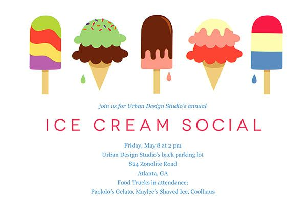 Office Party Invitations By Alexandra Coward Ice Cream