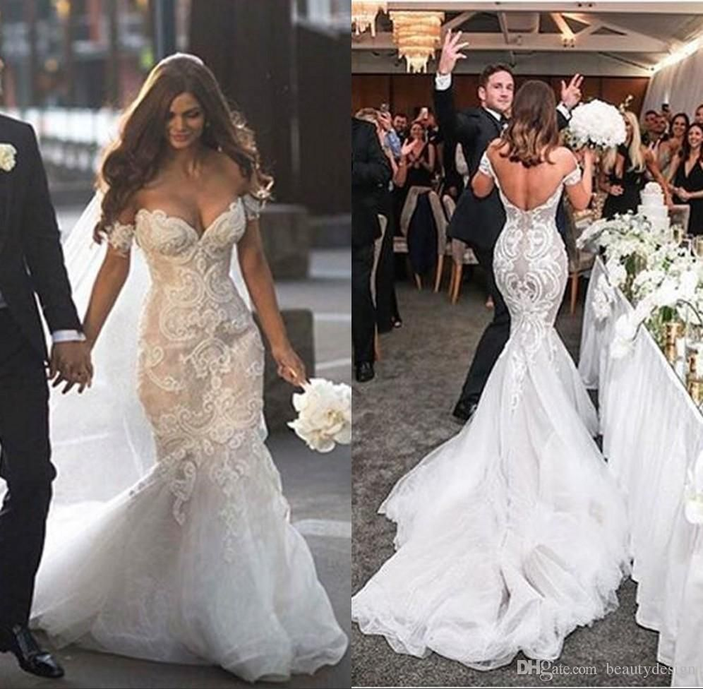 Stunning Off The Shoulder Wedding Dresses V Neck Mermaid Organza Lace Bridal Gowns Covered Buttons C Wedding Dress Cost Wedding Dresses Long Sleeve Bridal Gown [ 976 x 996 Pixel ]