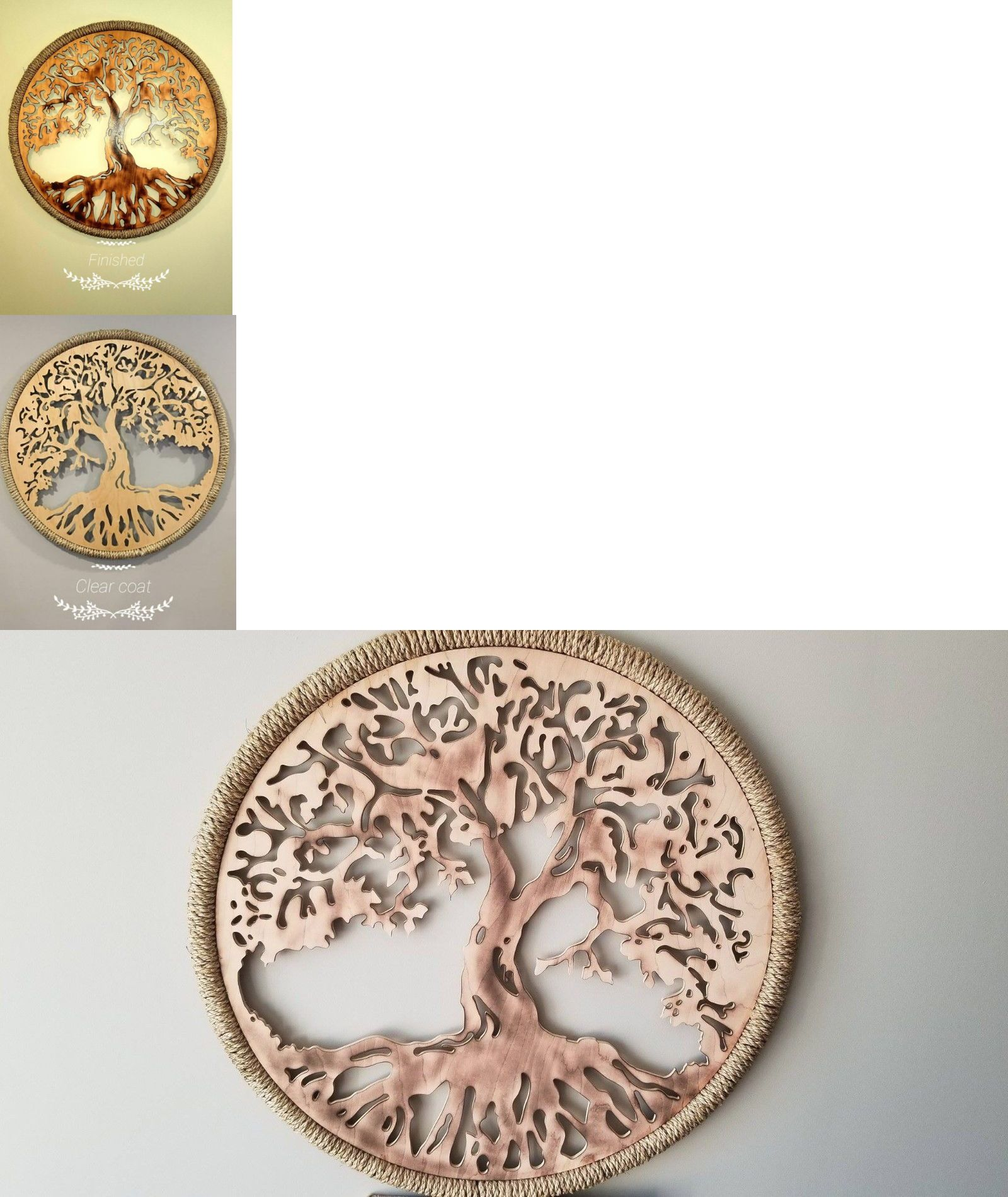 Wall sculptures tree of life round d wooden wall art
