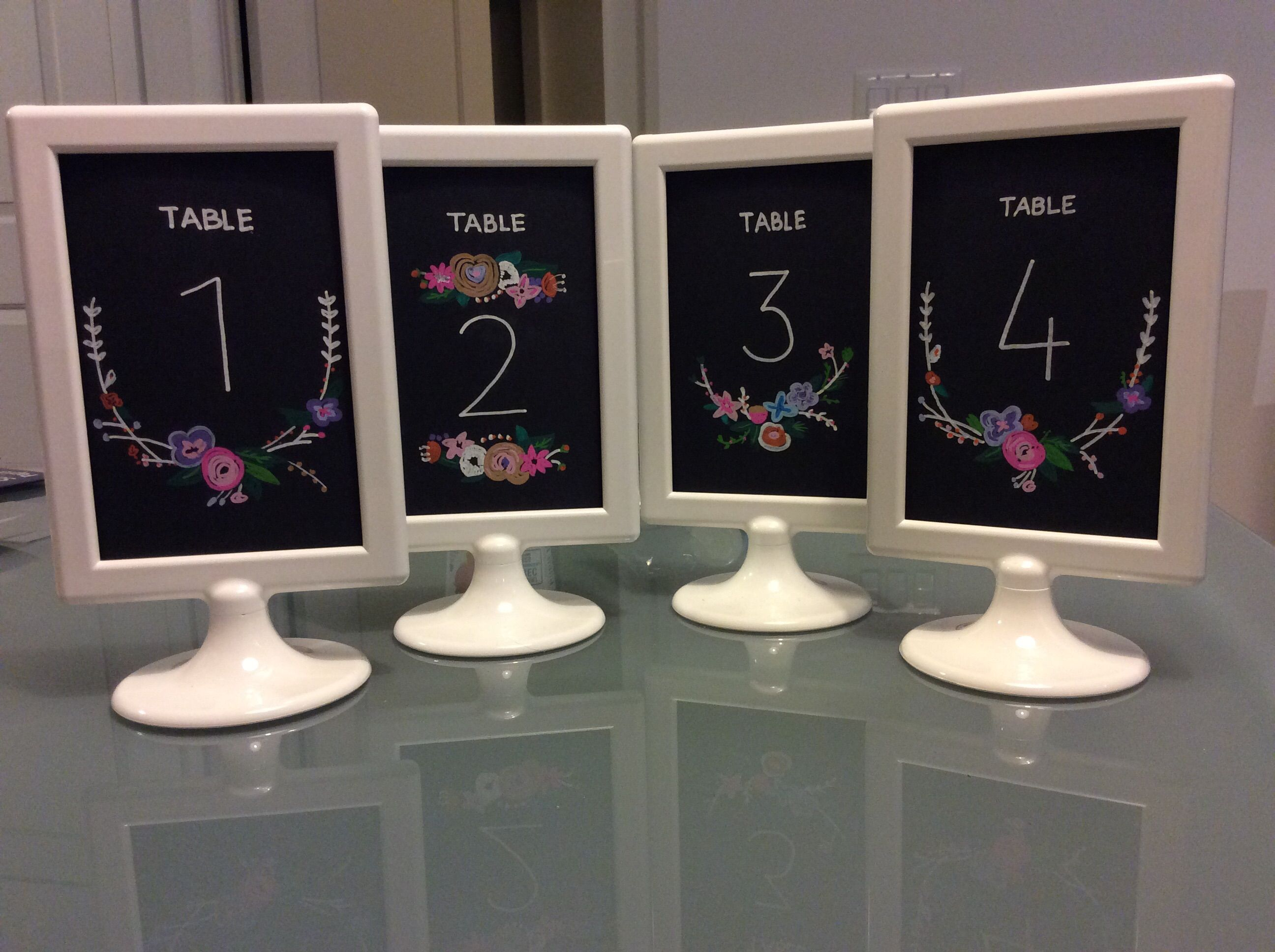 ikea tolsby frame w chalkboard look table numbers lauren and