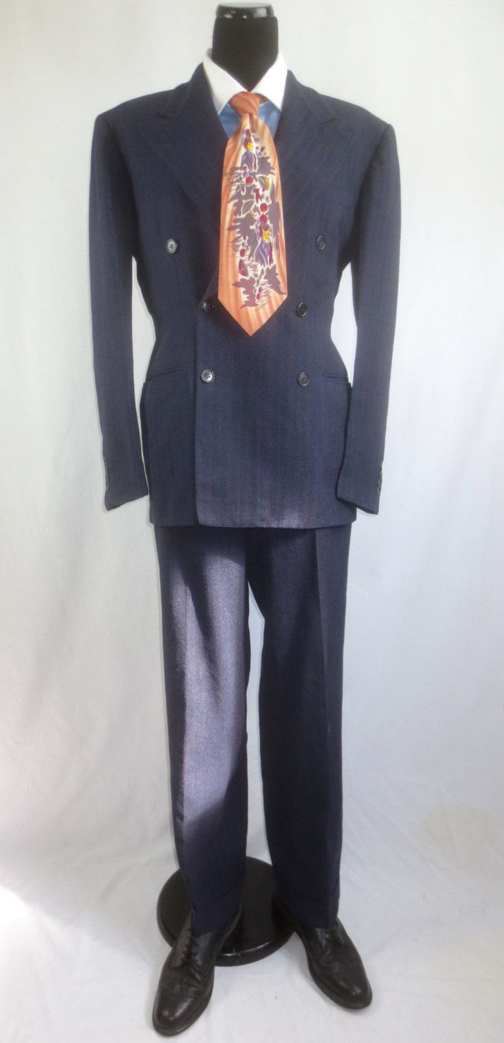 Authentic Vintage 1940's-1950's Man's 2pc Navy Pinstripe Wool Zoot Suit by Lundquist-Lilly - Slim Fit sz 42 by delilahsdeluxe on Etsy
