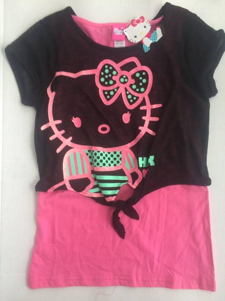 Hello Kitty Girls 2fer Front Tie Glitter S S Shirt SIZE XL 14-16 FREE  SHIPPING  Sanrio  CasualDressyEveryday ec933060b718