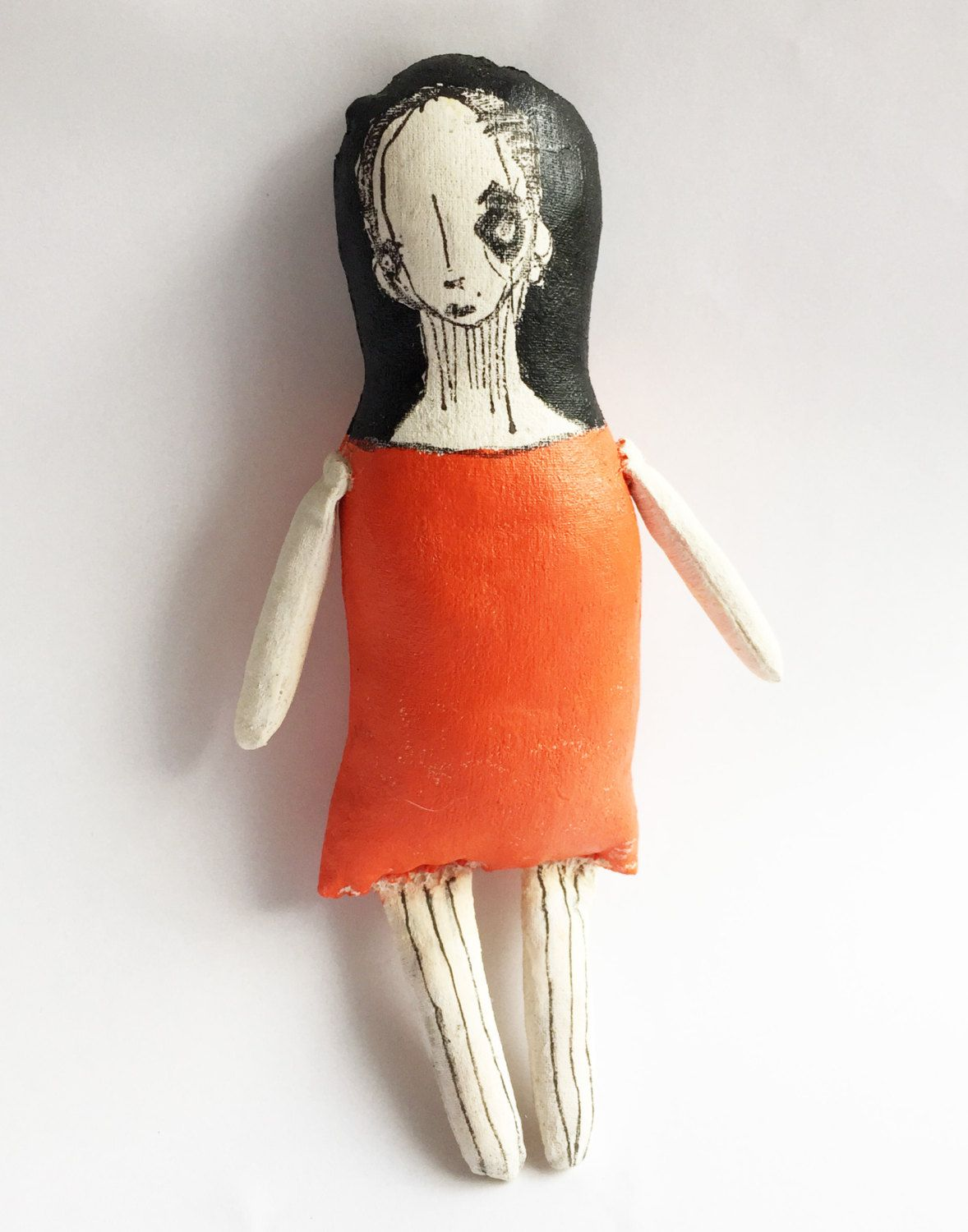 Illustrated GOTH Doll - Painted Goth Ragdoll - Gift for Her - Goth ...