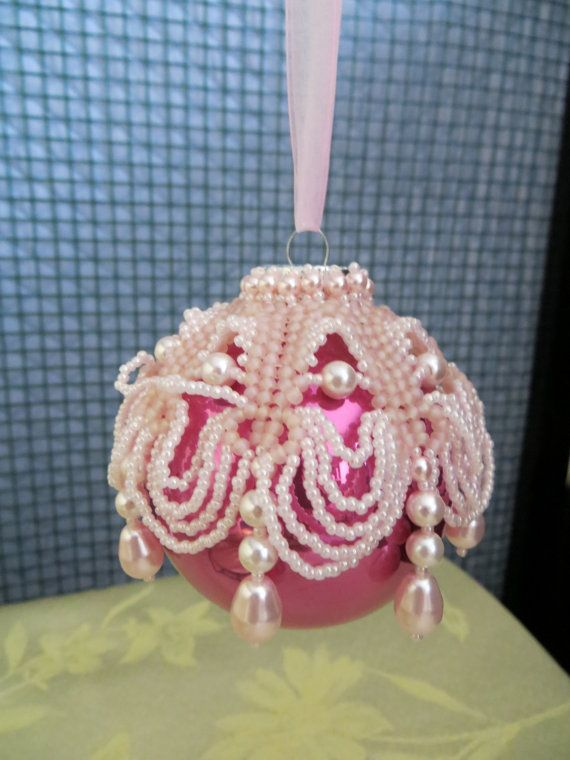 Victorian beaded ball ornament unique Christmas by mollsmall, $14.00