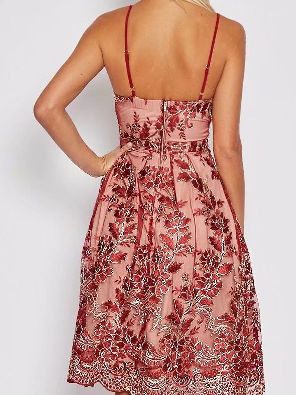 Red V-neck Embroidery Scalloped Hem Lace Overly Slim Strap Dress