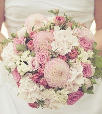 Pretty Pink Bouquet White Bridal