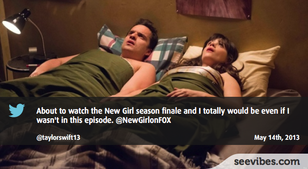 May 14th, 2013: Lots of canadian fans were in front of their TV watching the finale episode of the New Girl, and a lot of reactions on Twitter about what happened between Jess and Nick  - #Seevibes #TopRetweet #Twitter #NewGirl - https://twitter.com/taylorswift13/status/334468870830178304