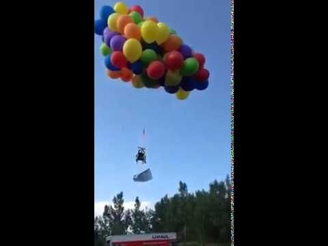 Canadian Ties 110 Balloons To Chair Flies Away Most