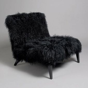 Mongolian Fur Chair Black Leather Chair Upholstery