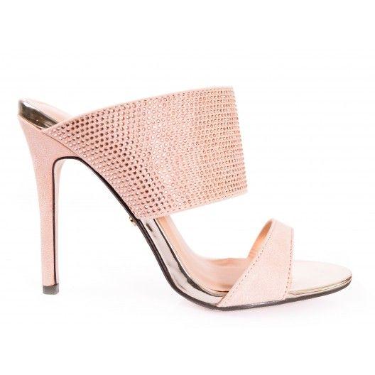 82d02aa2eb3f Béžové dámske sandále na vysokom opätku s otvorenou špičkou - fashionday.eu