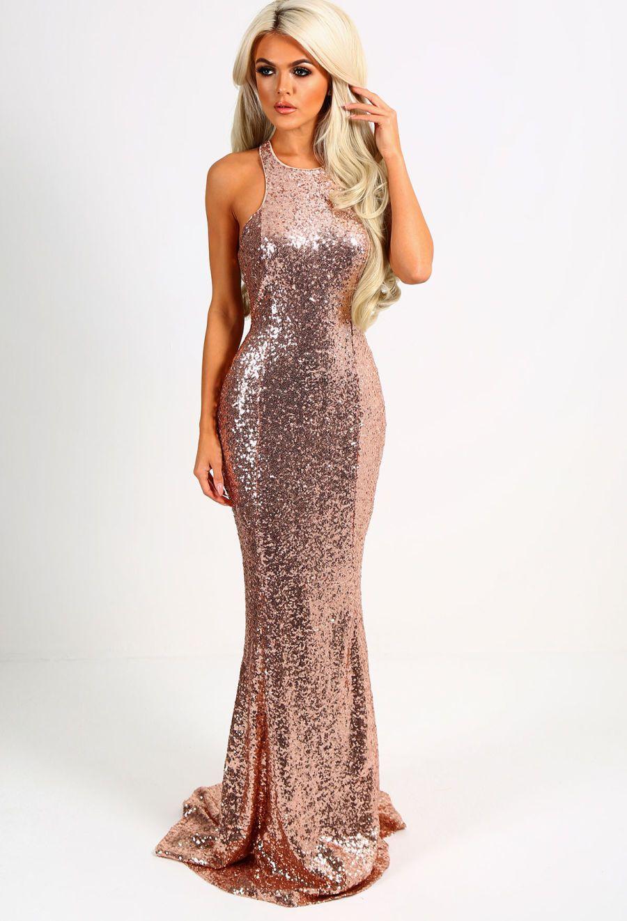f9540cb7df72 Imogen Rose Gold Sequin Backless Maxi Dress - 8 | prom | Rose gold ...