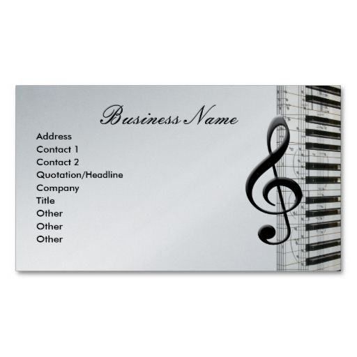 GClef And Piano Keyboard Music Notes Business Cards This Is A