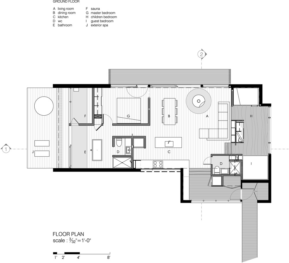Good Winter Cabin Plans #1: La Luge House By YH2 Architects - Quebec Canada - Winter Cabin - Floor Plan  -