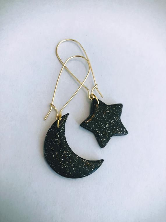 Photo of Star and Moon Earrings, Asymmetrical Earrings, Celestial Earrings, Mismatched Earrings, Cosmic Earrings, Black and Gold Glitter