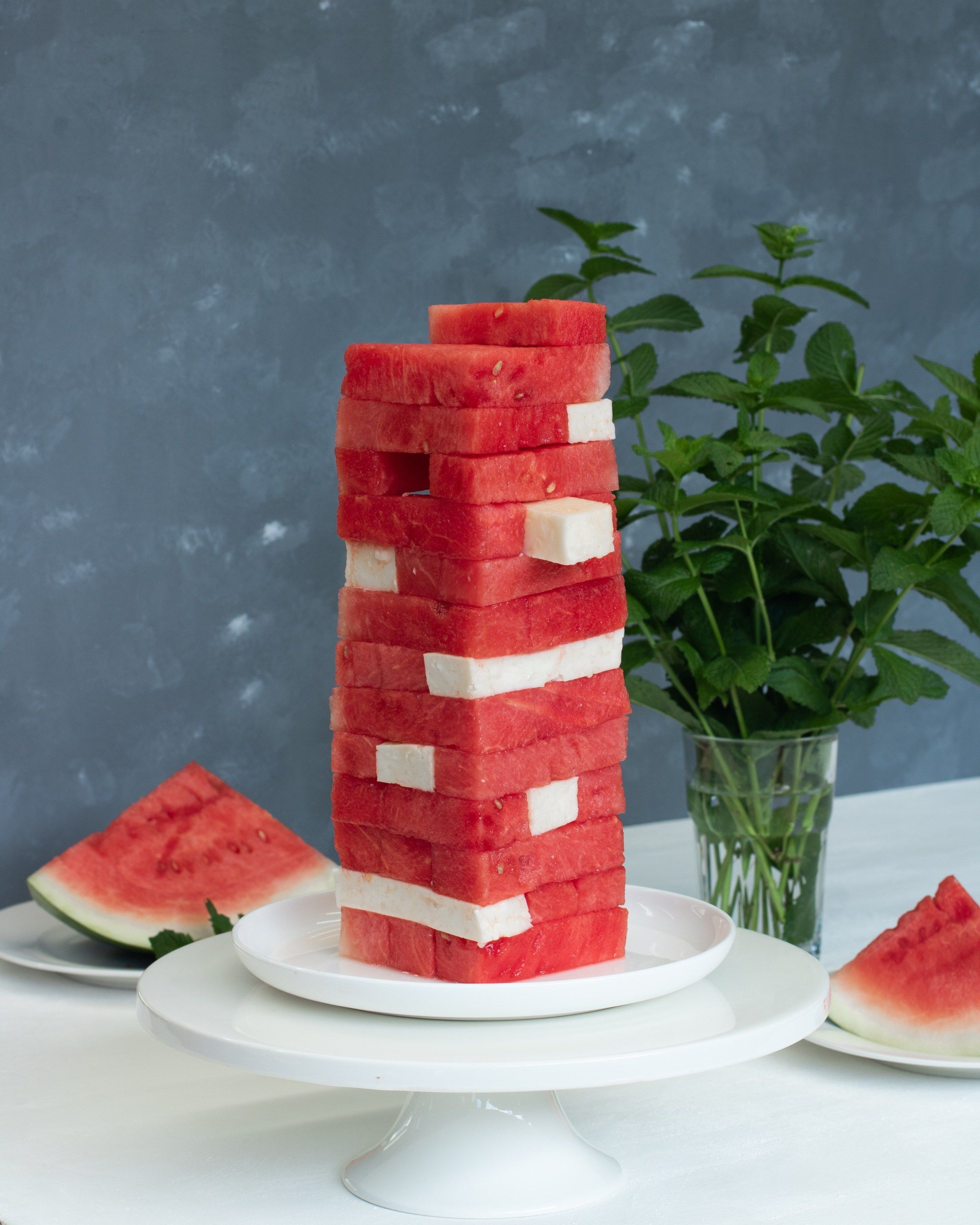 Watermelon And Halloumi Jenga Recipe With Images Watermelon