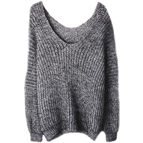 1f6a503bc Fluffy V-neck Loose Mohair Knit Sweater ( 34) ❤ liked on Polyvore featuring  tops