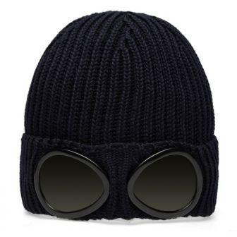 Bonnet CP COMPANY gogle avec lunette déco 100 % laine fait en italie  cpcompany