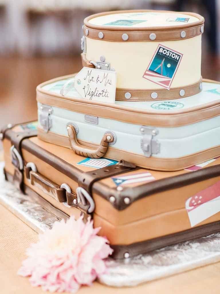 Wedding cake shaped like honeymoon luggage pasteles pinterest