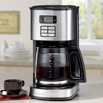 With a digital control panel that lets you pick your preferred brew options, and programmable clock, timer and auto shutoff, this 12-cup coffeemaker by Hamilton Beach will make brewing coffee as simple as can be. Its stainless-steel finish goes well with other modern appliances and a water-level window makes sure you have the right amount of water for each brew. Shop for one now at wards.com!