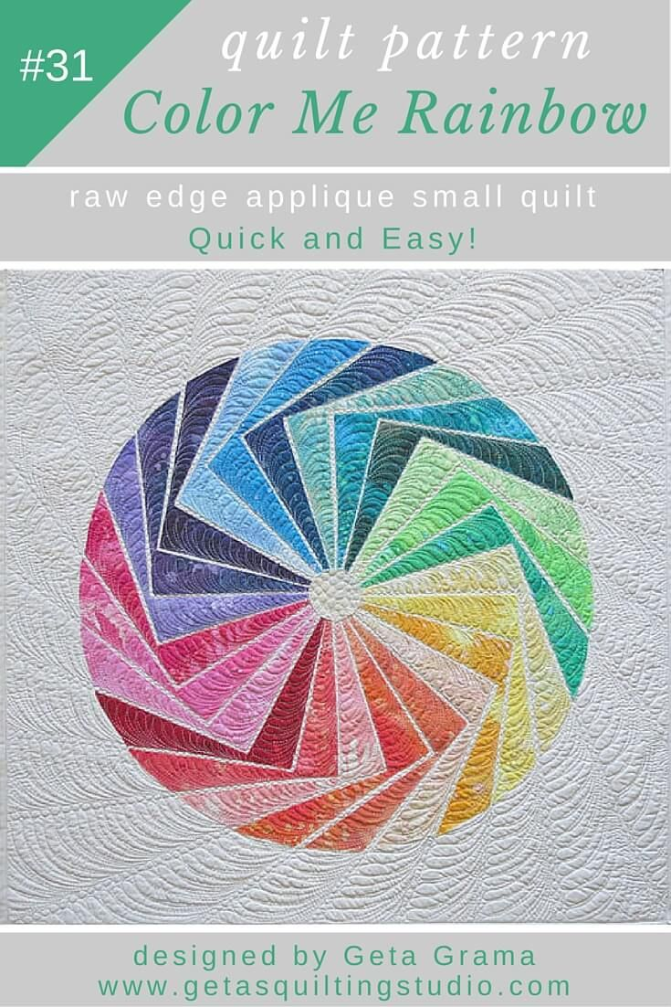 Geometric wall hanging applique quilt pattern- fast and fun design for colorful little quilts.