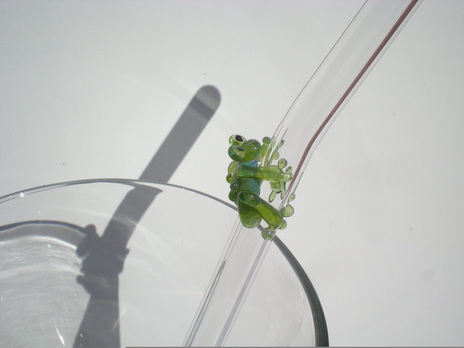 Green Frog - Glass Drinking Straw 9mm. $10.00, via Etsy.