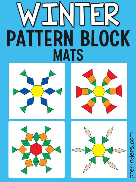 Snowflake Pattern Block Mats Winter Theme Preschool Preschool