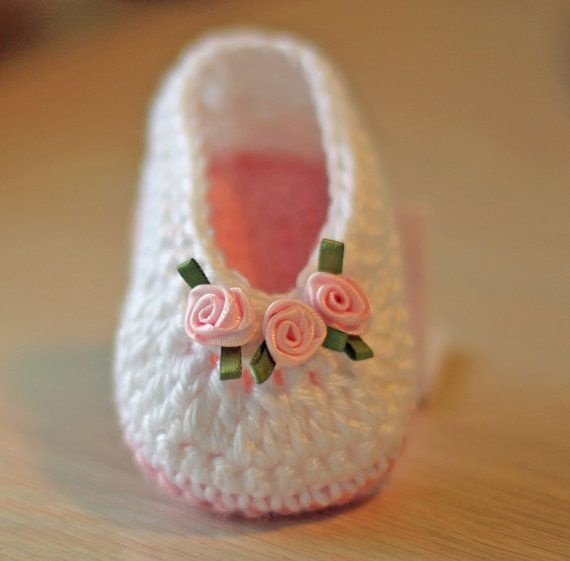 Crochet Baby Booties made in White and Pink with Beautiful Tiny ...