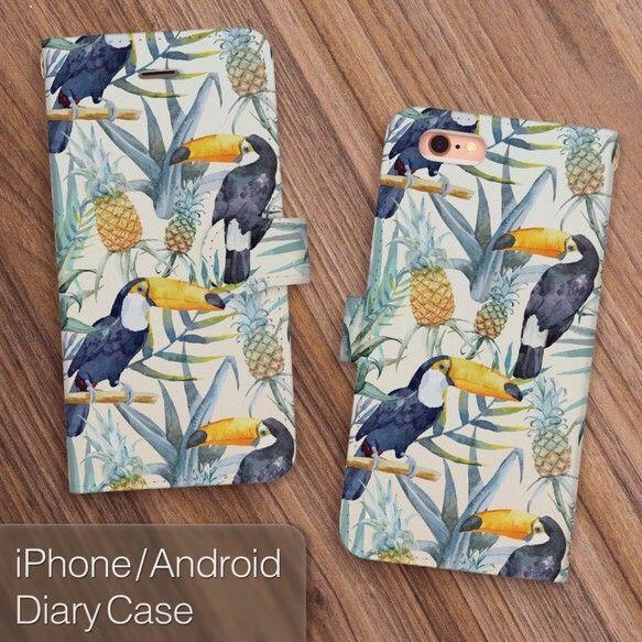 夏休みハンドメイド2016トロピカルな鳥、オオハシとパイナップルをちりばめた、iPhone6/6s・iPhone6Plus/6sPlus・iPhone5/5s・iPhone5c・Android各機種対応の人気の手帳型スマホケースです。お洒落でかわいいデザインで、アイフォン・スマートフォンを手に取る度に楽しくなるようなデザインです。全国送料無料でお届けいたします。【対応機種】・iPhone7 4.7インチ・iPhone7 Plus 5.5インチ(+500円)・iPhone6 / iPhone6s / iPhone5 / iPhone5s・iPhone6 Plus / iPhone6s Plus(+500円)・iPhone5c(+500円)・Android Sサイズ・Android Mサイズ・Android…