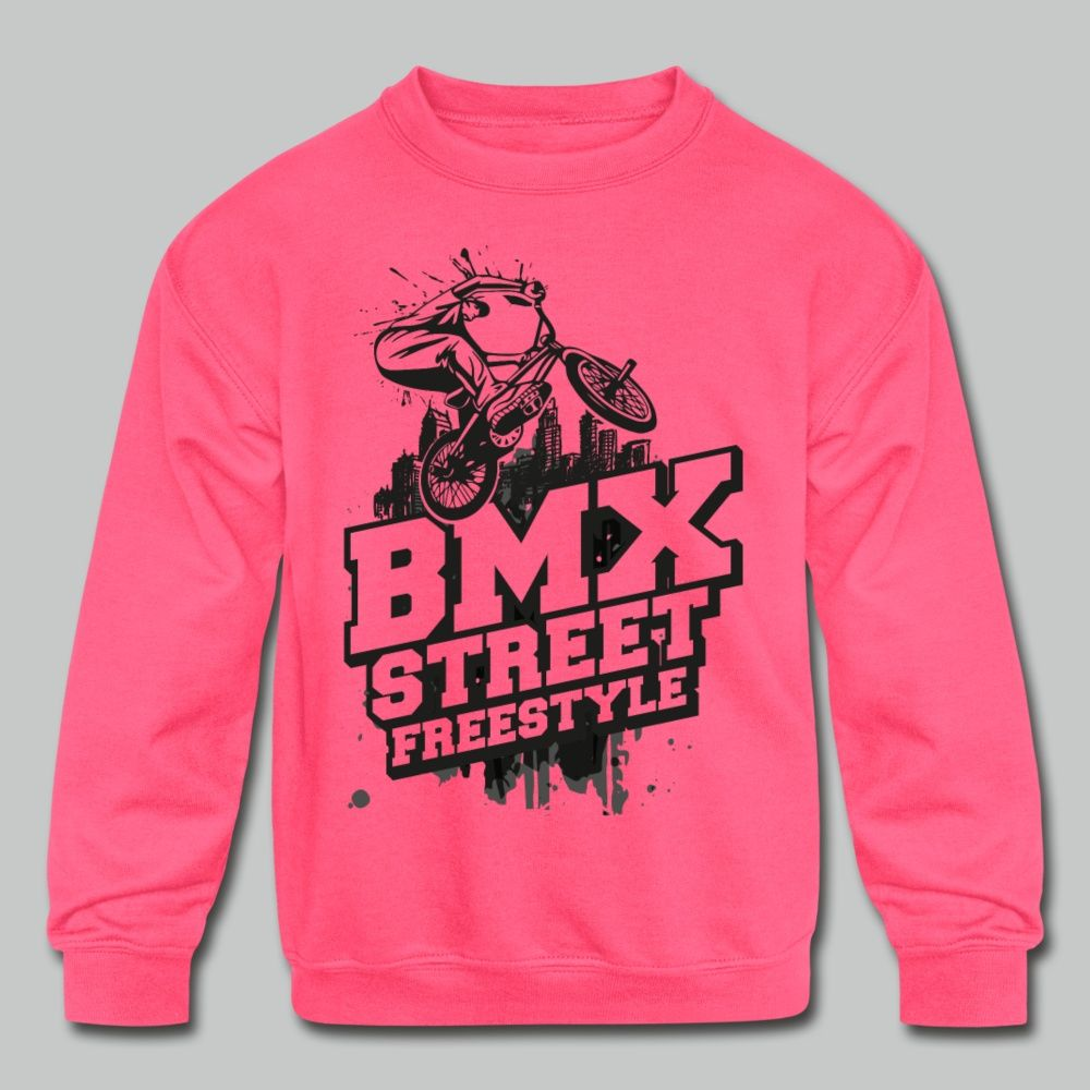 Bmx Street Style Bmx Freestyle Bmx Apparel Kids Crewneck Sweatshirt Neon Pink In 2021 Branded Sweatshirts Bmx Street Sweatshirts [ 1000 x 1000 Pixel ]