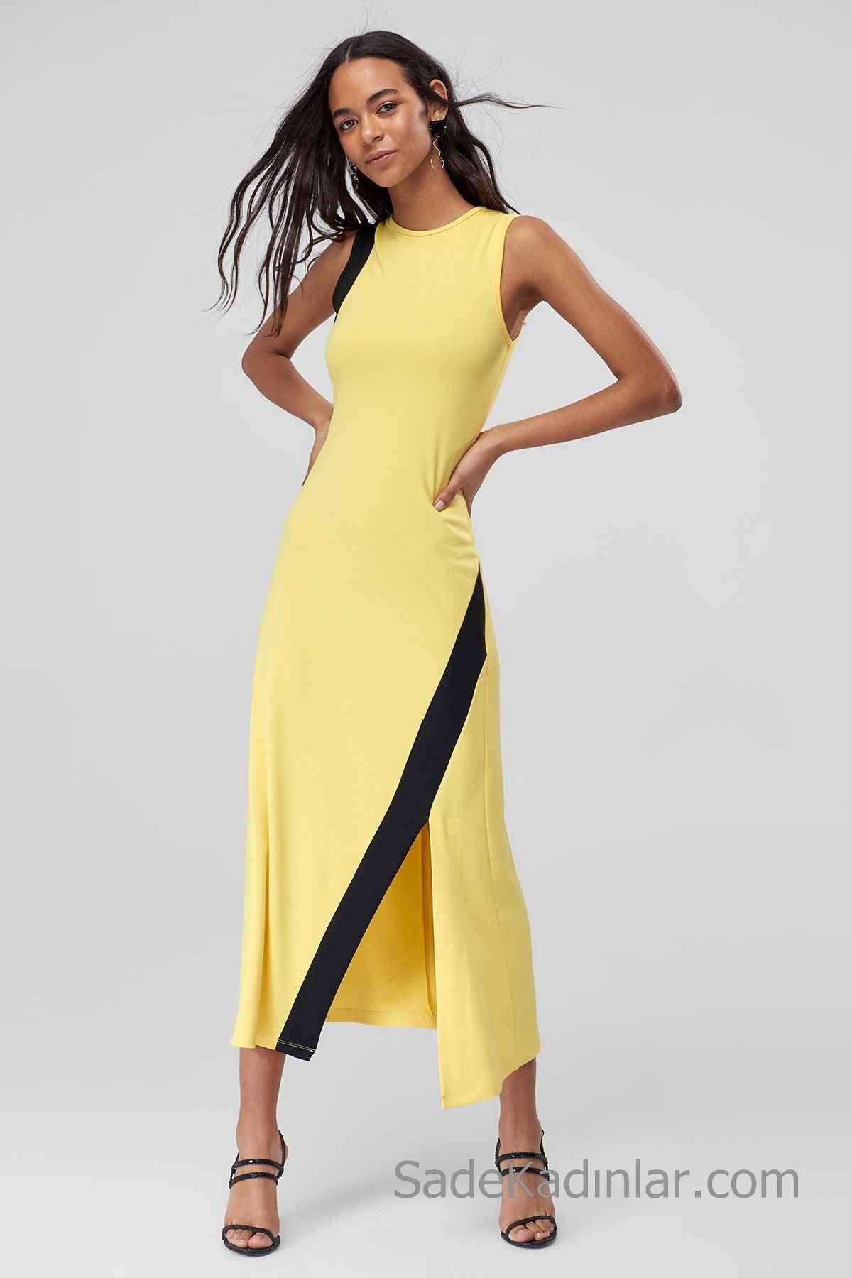 2020 Gunluk Elbise Modelleri Sari Uzun Kolsuz Onden Yirtmacli Siyah Seritli Elbise Modelleri Elbise Moda Stilleri