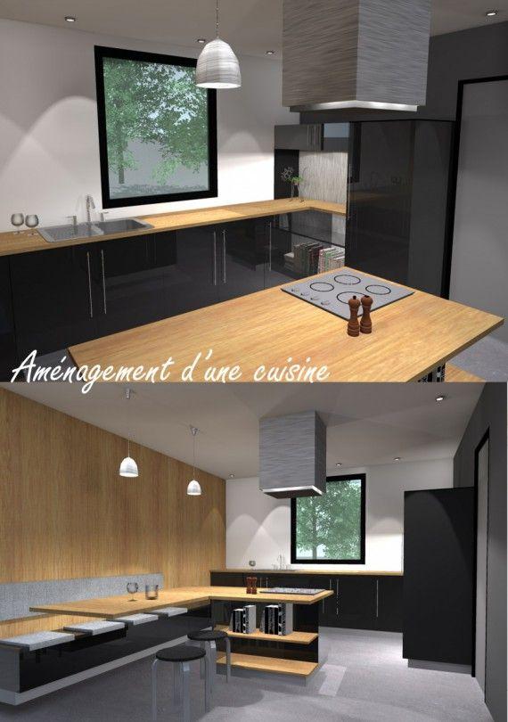 am nagement d 39 une cuisine ferm e avec ilot central cuisines en 2019 pinterest. Black Bedroom Furniture Sets. Home Design Ideas