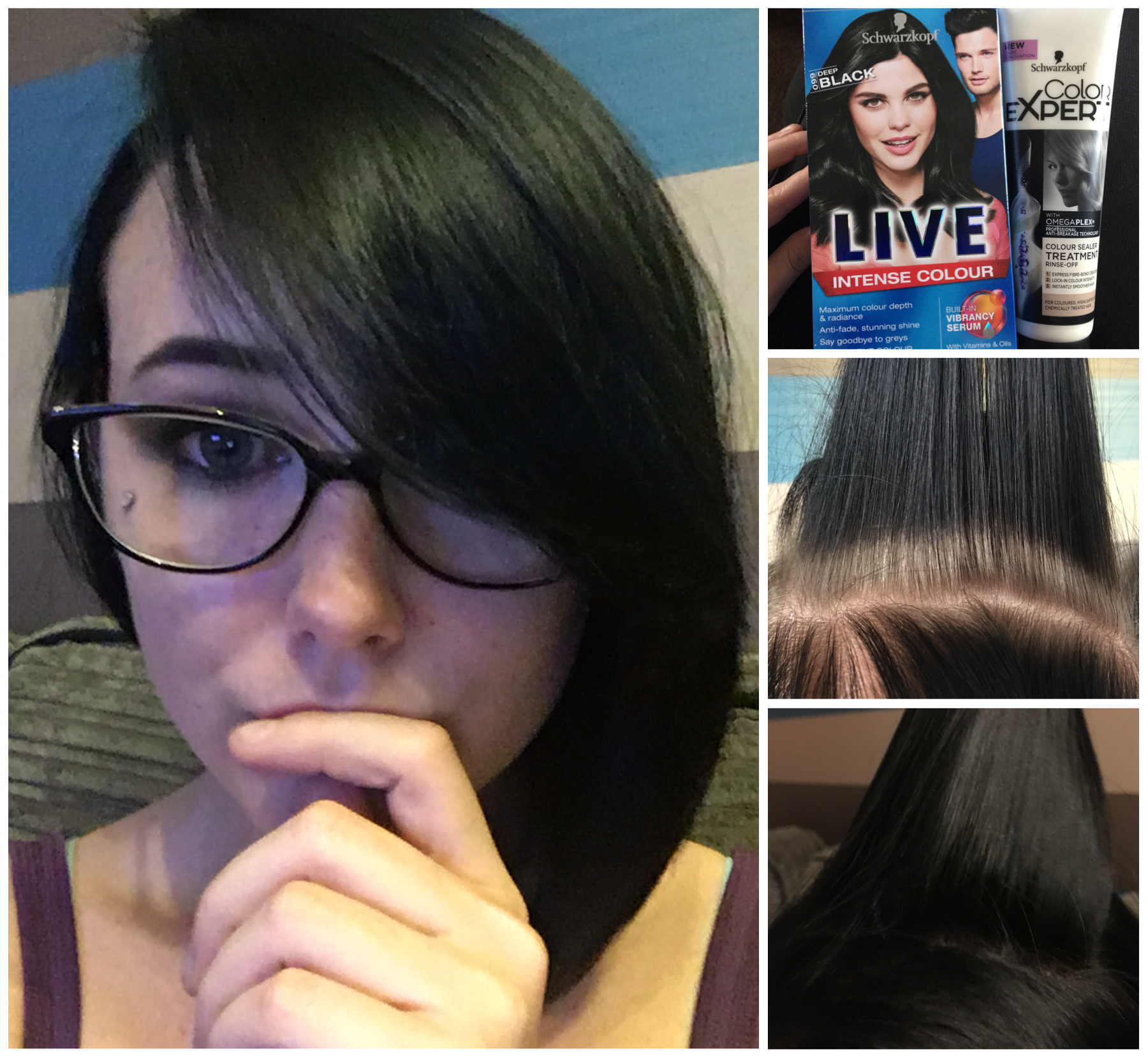 Schwarzkopf Live Colour in 099 deep black before and after. Good complete, even coverage. The colour after treatment smells amazing Now to see how long it lasts Gallery