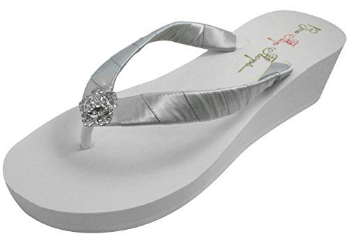 735ede9dccde3 Rose Rhinestone Wedge Flip Flops Ivory White Bridesmaid Bride Sandals      You can get additional details at the image link.