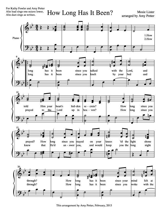Free sheet music : Lister, Mosie - How Long Has It Been? (Piano ...