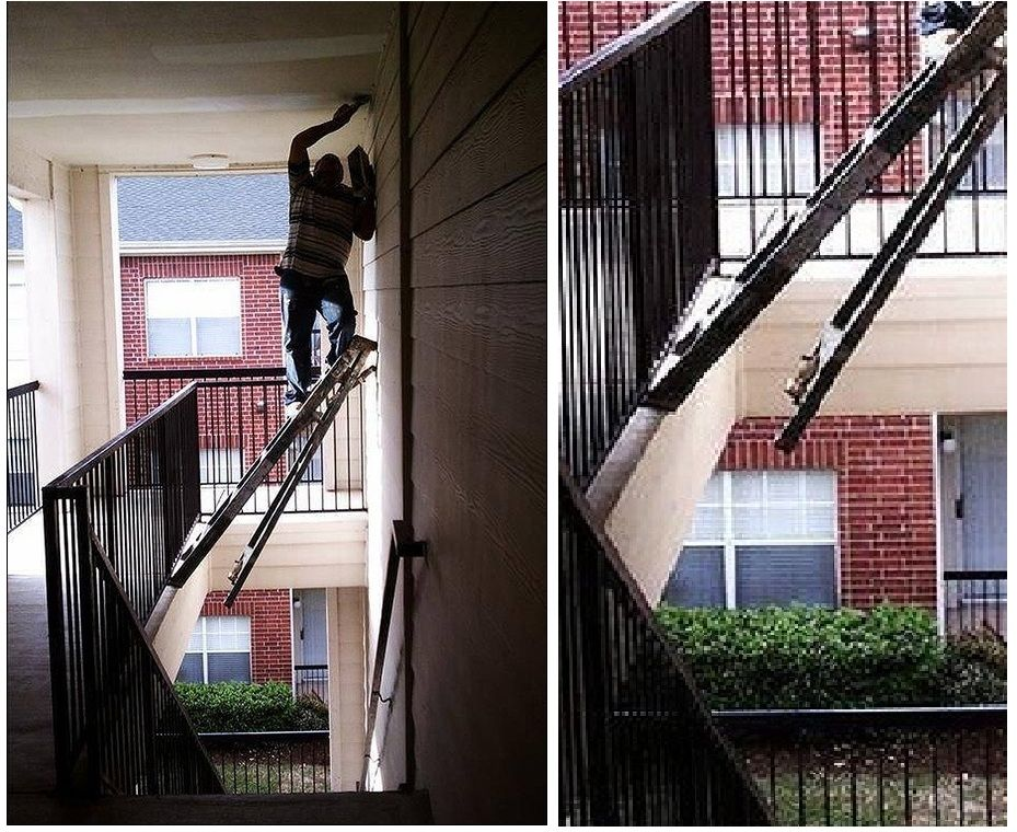 101 idiots on a ladder We show you so you don't do it