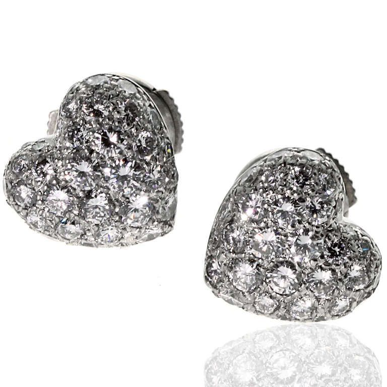 Cartier Pave Diamond White Gold Puffed Heart Earrings | From a unique collection of vintage stud earrings $8900