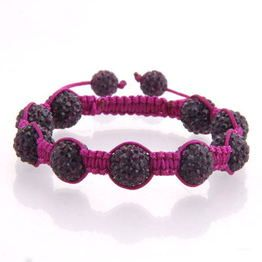 Purple Crystals beads with Plum Purple cord and two Purple end beads.