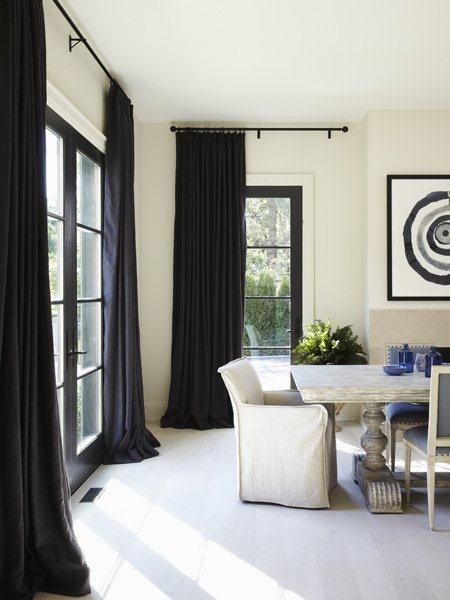 Simple Floor To Ceiling Black Curtains Great Contrast For This