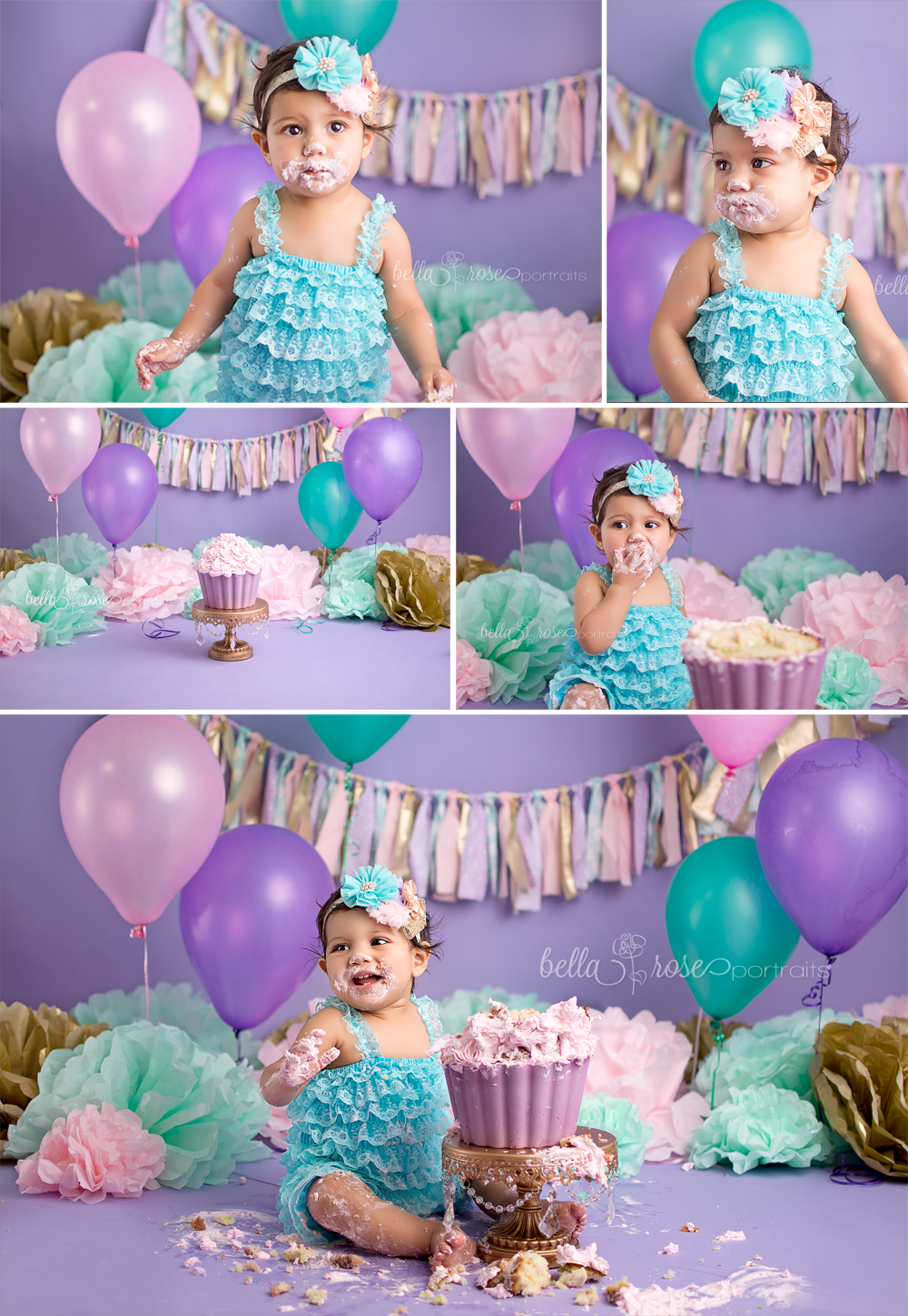 fc5354f27db 1-year-old baby girl cake smash lavender purple
