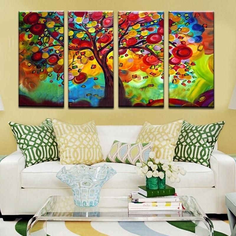 Colorful 4-PC Wishing Tree Modern Abstract Oil-Painted Canvas Wall ...
