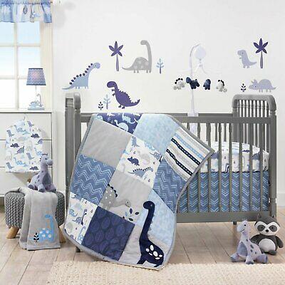 Details about Bedtime Originals ROAR Dinosaur 3-Piece Crib Bedding Set Blue Gray Poly Cotton #dinosaurnursery