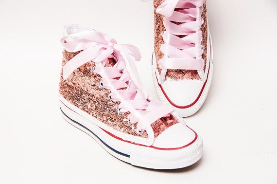 b9cc9db61654b2 Sequin - Rose Gold Canvas Customized Converse Canvas Hi Top Sneakers Tennis  Shoes with Satin Ribbon Shoelaces