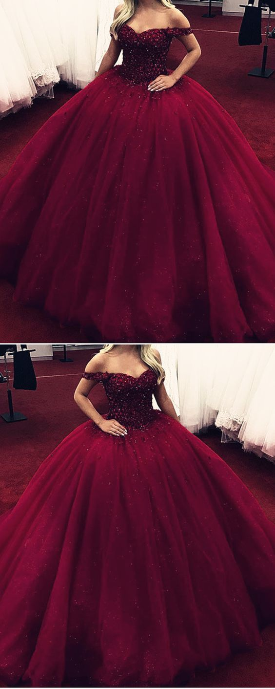 burgundy ball gown off shoulder wedding dresses crystal