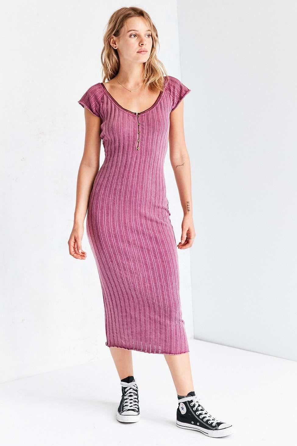 Pink n purple dress  Ecote Grungy Maroon Pointelle Bodycon Midi Dress  Midi dresses