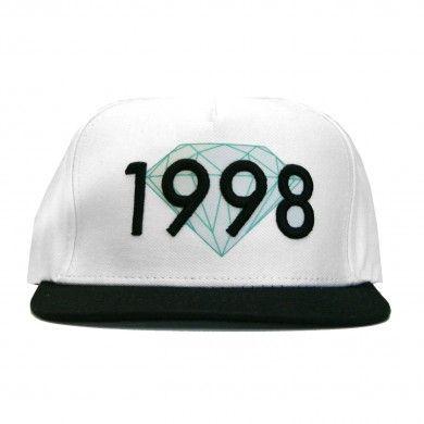 Diamond Supply Co. Brilliant 1998 Snapback in White and Black ... d3416f39a5e